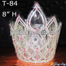 "8"" Big Heart Pink Crystal Pageant Crowns"