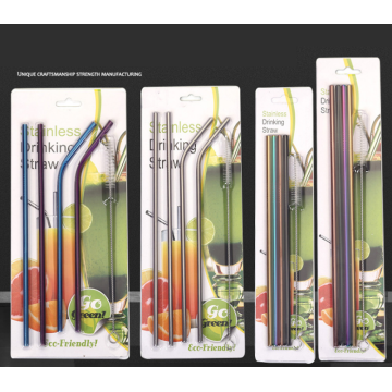 304Exquisite Stainless Steel Straw Set Blister Packaging
