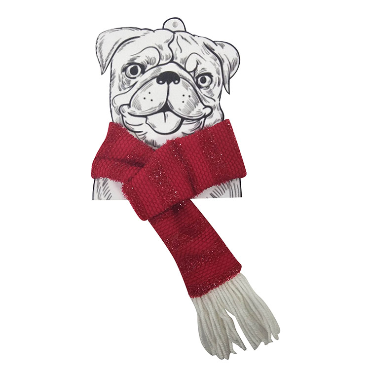 Christmas dog knit scarf red B