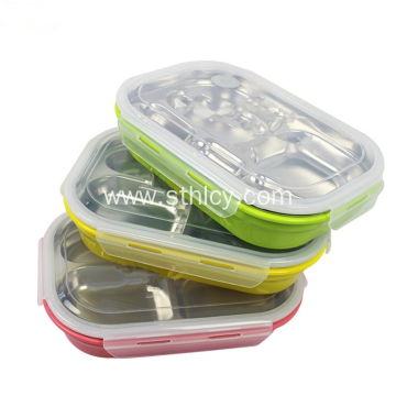Rectangle Stainless Steel And Plastic Multilayered Lunch Box