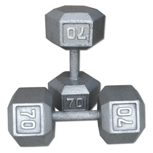 70LB Cast Iron Hex Dumbbell
