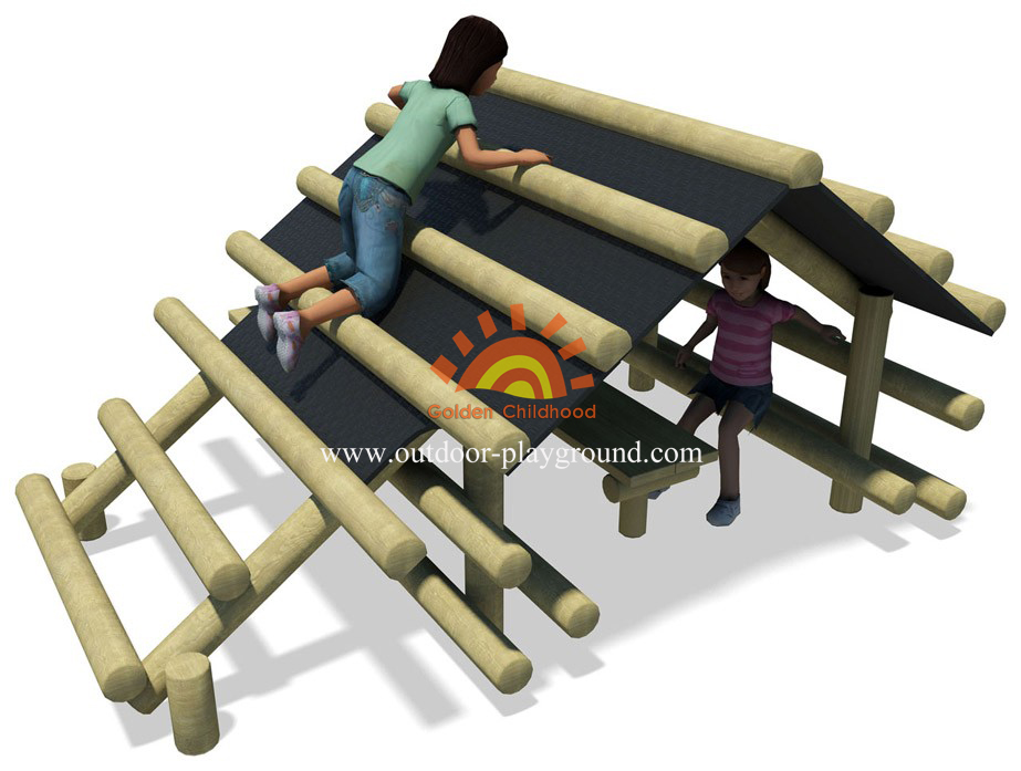 outdoor log climbing playhouse for kids