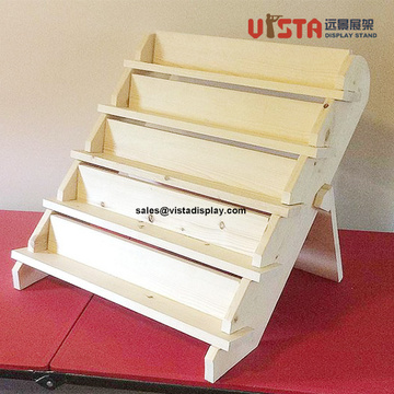 Cosmetics Display Countertop Stand Wood Stair Riser