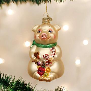 China Pig Year Weihnachtsglas Ornament Pig Shaped