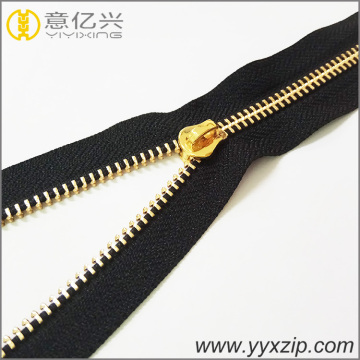 fashion gold teeth long chain rolls zipper