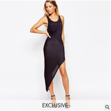 sexy hip pack tight asymmetric long evening dress party