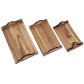 Wooden food tray with handles