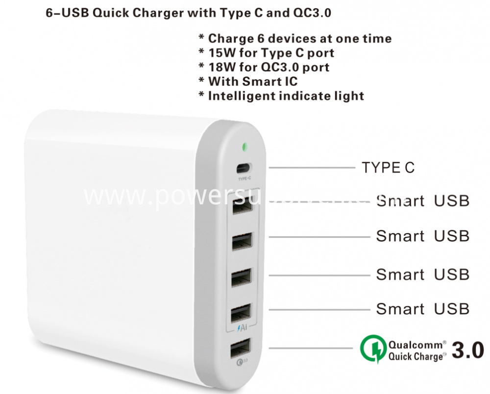 Type C And Qc3 0 Multi Usb Charger