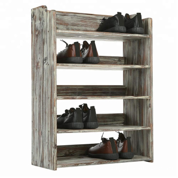 5 Tier Rustic Torched Wood Entryway Shoe Rack Storage Shelves, Closet Organizer Shelf