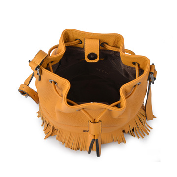 Casual Affair Drawstring Medium Fringe Bucket Bag Camel