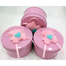 factory low price Used for Square Chocolate Tin Box Pink Chocolate Tin Can with Bear Decoration supply to South Korea Factories