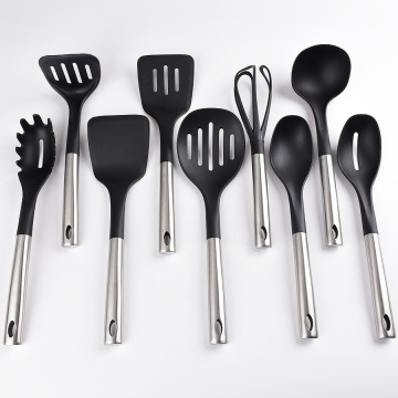 nylon cooking tool set with stainless steel utensils