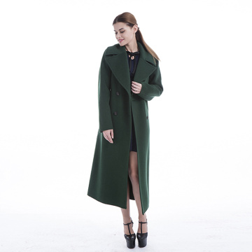 Green 100% pure cashmere overcoat