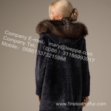 Fur Long Coat With Mink Flower In Winter