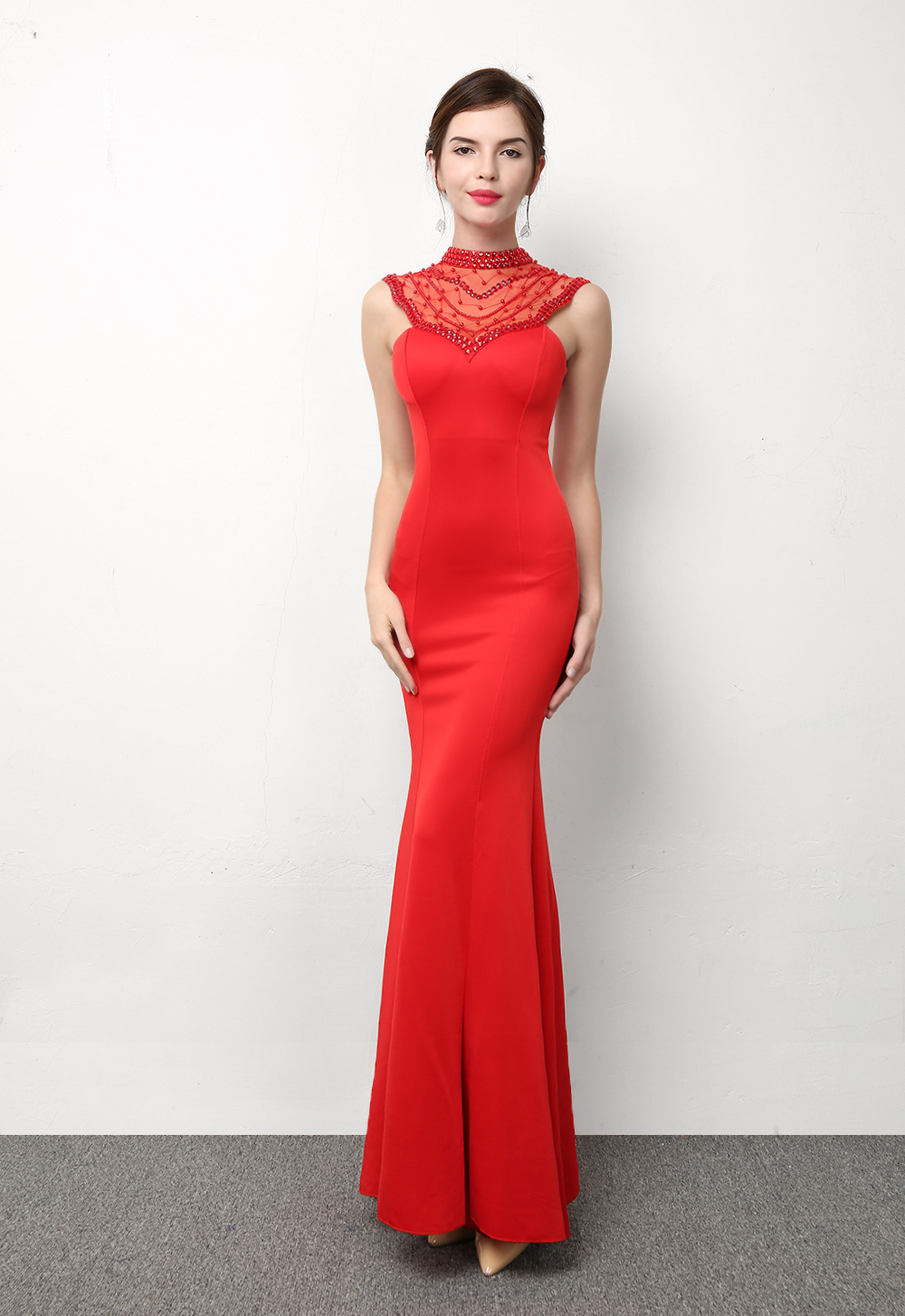 1445 # fishtail Slim hollow sexy package hip party chaired annual car models long nightclub dress