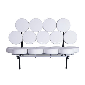 White Nelson Marshmallow Leather Sofa