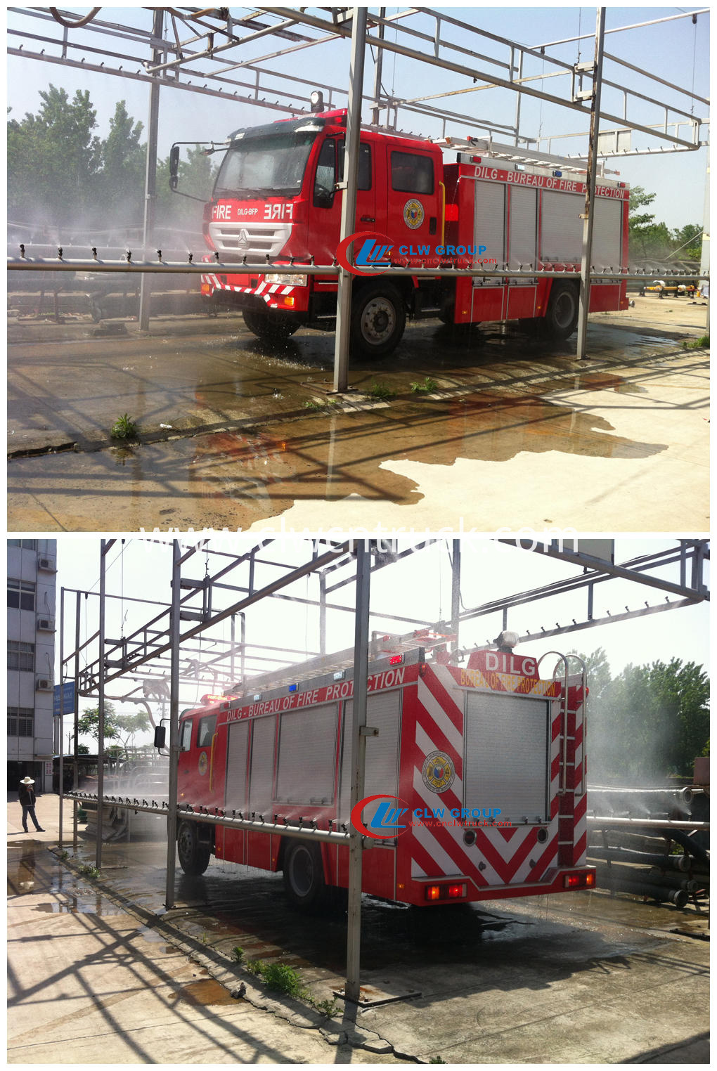 fire fighting truck on water testing