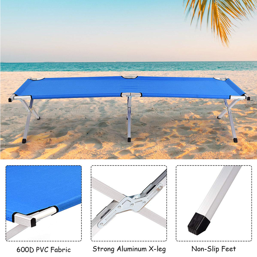 X Leg Camping Bed On Beach