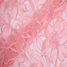 Hot Selling Lt  Pink Flower Embroidery Fabric