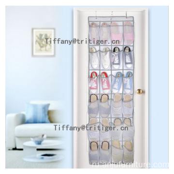 Non-woven material Over The Door Shoe Organizer nylon mesh 24 pockets Hanging Shoe Organizer