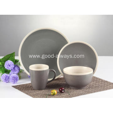16 pieces dinnerware set ,Gray Cream