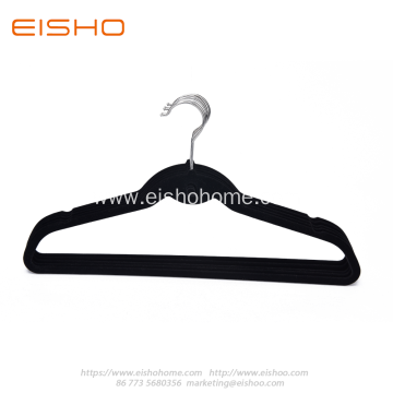 Black Anti-slip Velvet Coat Hanger With Tie Hook