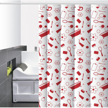 Waterproof Bathroom printed Shower Curtain Tension Rod