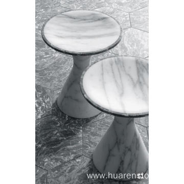 White marble round table