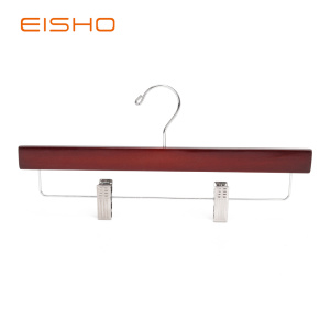 Renewable Design for Wood Hangers For Clothes,Wooden Pants Hanger,Pants Hangers  Manufacturer in China EISHO Adult Light Walnut Bottom Hanger With Clips export to Germany Exporter
