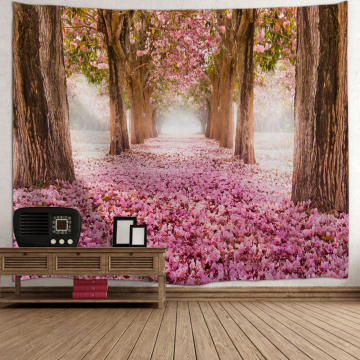 Sakura Road Tapestry Big Tree Pole Cherry Blossoms Wall Hanging Nature Style Flower 3D Print Romantic Tapestry for Livingroom Be