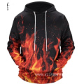 Red fire digital printing hoodie