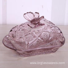 Embossed Glass Butter Dish With Lid