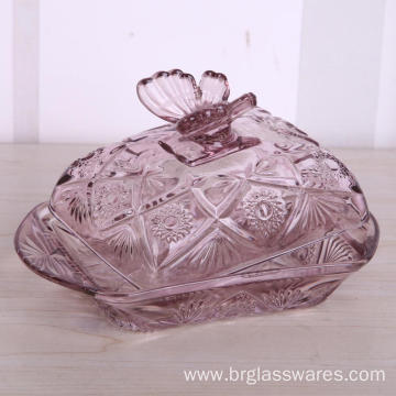 China Top 10 for Glass Jewel Box Embossed Glass Butter Dish With Lid export to United States Manufacturer