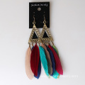 Retro Gold Wholesale Lady Indian Cheap Long Feather Earrings