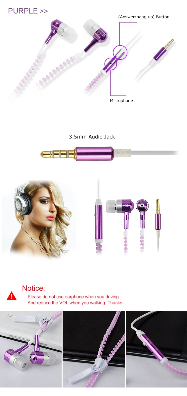 zipper earphones