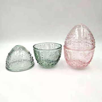Crystal glass jar egg shaped for easter day