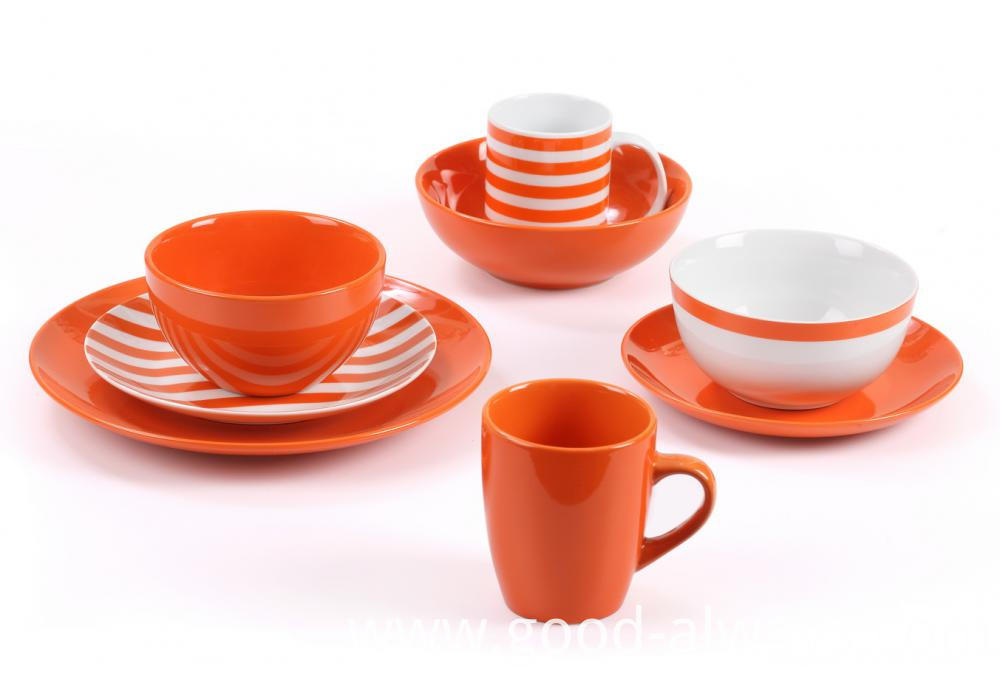orange color dinnerware