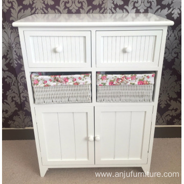 2 Cupboard 2 Wicker Drawer Basket White Storage Unit