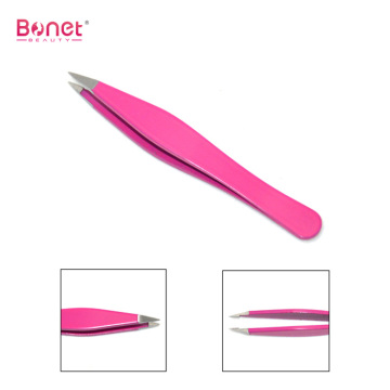 Stainless steel slanted eyebrow tweezers