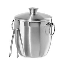 Double Wall Sliver Ice Bucket Stainless Steel
