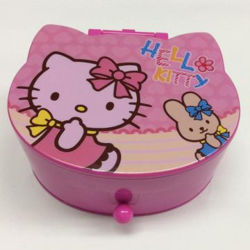 Plastic jewelry storage box with mirror