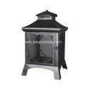 Black Sand Paint Steel Wood Outdoor Firepit