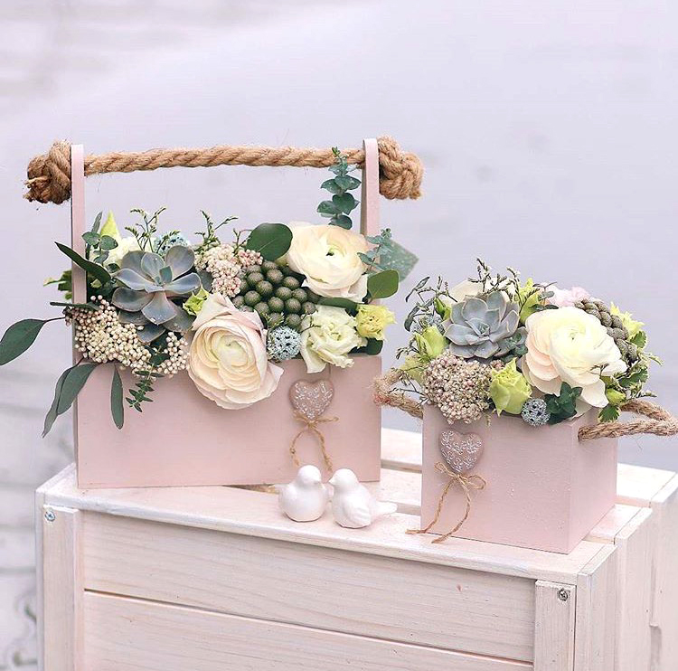 Waterproof PVC Basket Flower Packaging Gift Boxes