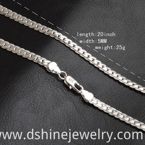 Silver Jewelry Link Chain Necklace