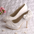 Bow Elegant Evening Shoes Purple Satin