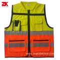 Yellow EN 20471 reflective safety vest