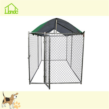 Large galvanized chain link dog kennel with cover