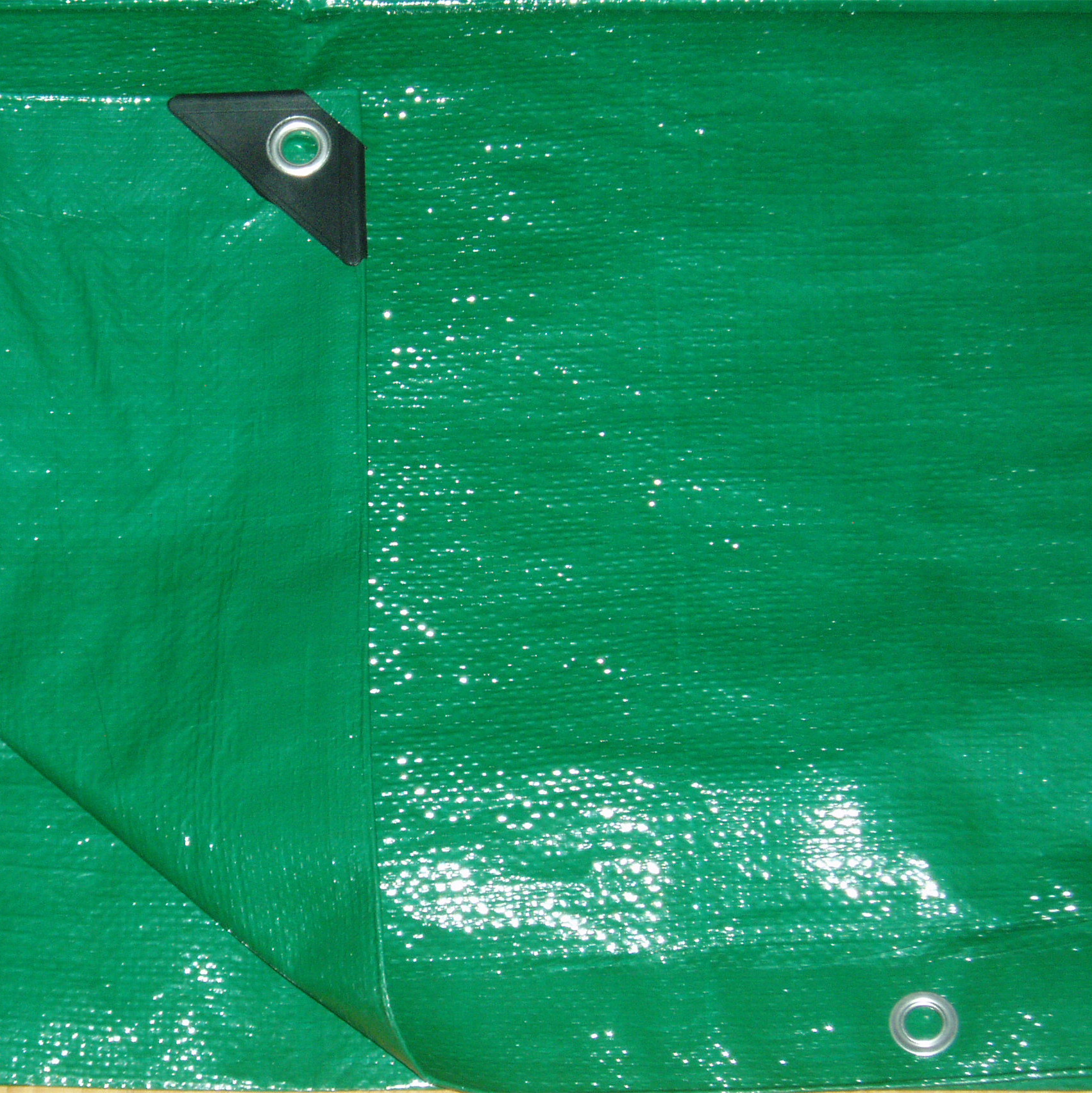 Green PE tarp with reinforced corner