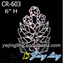 "6"" Pink Crystal Rhinestone Flower Leaves Crowns"