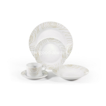 20 Piece Decal Round Porcelain Dinner Set